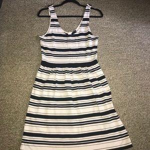 j Crew Black and Cream Stripe Tank Dress